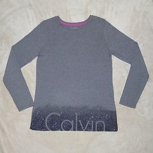 Calvin Klein Girl's Long Sleeve Glitter Top